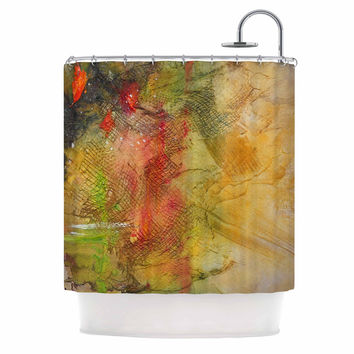 "Carol Schiff ""Poppyfield"" Yellow Green Shower Curtain"