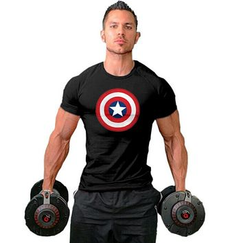 Muscle guys Fitness Men T Shirts gyms clothing Bodybuilding Clothes Men Cotton golds T Shirt