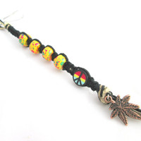 Beaded Rasta Keychain Hemp Peace Keychain Pot Leaf Legalize Marijuana Keychain