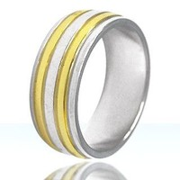 Stainless Steel 2 Separate Gold Plated Band Ring SS