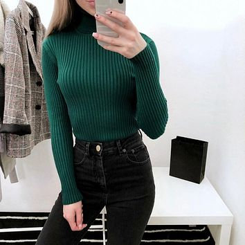 ONLYSTAR Autumn Winter Thick Sweater Women Knitted Pullover Sweater Long Sleeves Turtleneck Slim Jumper Soft Warm Pull Femme
