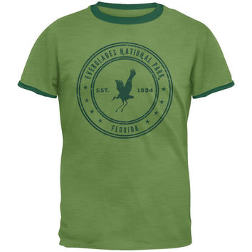 Everglades National Park Vintage Heather Green Men's Ringer T-Shirt