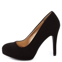 Black Round Toe Mini-Platform Pumps by Charlotte Russe