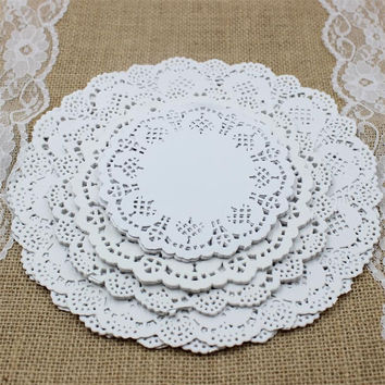 "SS01607 4.5""&5.5""6.5""&8.5""Mixed Sizes Round Lace Flower Paper Doilies Placemat Crafts for Wedding Party Decoration Supplies"
