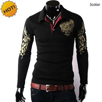 New 2018 Spring Autumn Winter Big Eagle printing Thermal  Men Polo Shirt Lapel Slim Fit Long Sleeve Joker Pullover Polos Hombre