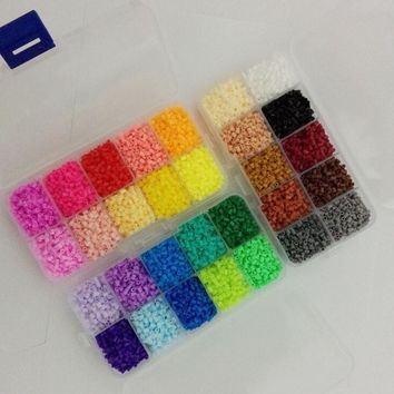 mini 2.6mm hama beads12,600pcs 3 pegboards 30 colors 3box set food grade EVA perler beads active iron beads free shipping