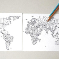 doodle map world coloring template etsy sales zentangle adult coloring globe nations teaching at home decor print digital lasoffittadiste