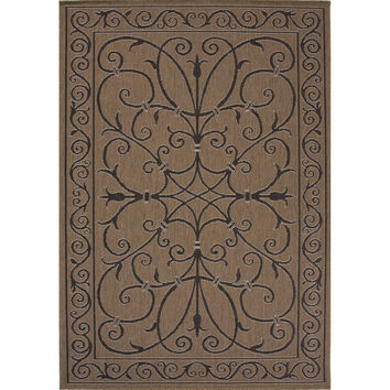 Indoor/Outdoor Damask Pattern Taupe/Black Polypropylene Area Rug (5.3x7.6)