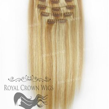 Brazilian 9 Piece Straight Human Hair Weft Clip-In Extensions in #27/#613