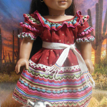 "Historical American girl doll clothes ""Los Colores"" (18 inch)Early 1800s Josefina Mexican American Santa Fe OOAK Birthday Dress and Camisa"