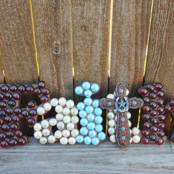 Faith,Wall decor,religious decor,red,white,blue,cross decor,gem stones,home decor,wall art,word art,wooden decor,faith decorations,crosses