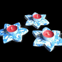 Fireplace candle holders. Set of three small star shaped candle holders- hand crafted blue candle holder- teelight holder- Ceramic/ Pottery