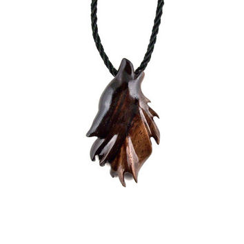 Mens Wolf Necklace, Wolf Pendant, Wolf Necklace, Wooden Wolf Necklace, Howling Wolf Pendant, Men Tribal Necklace, Wolf Jewelry Totem Jewelry