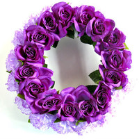 "Purple summer candle ring, Small wreath with roses and carnations, 14"" purple silk flower candle ring, Summer wreath in purple (GN103)"