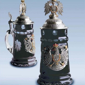 0.5 Liter Black Crystal Glass German Beer Stein