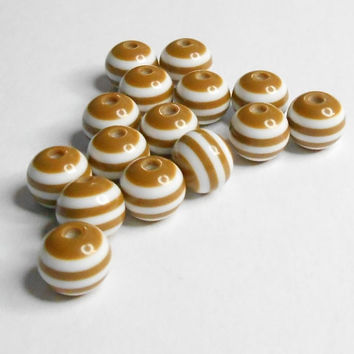 Resin Coffee Stripe White Round Beads 8mm