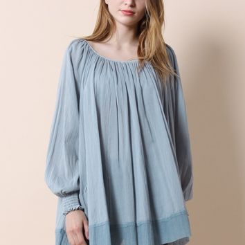 Bliss of Free Gray Oversized Top
