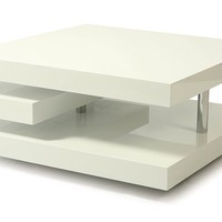 Pastel VY-415-CH-GW Viceroy Coffee Table, Chrome/White High Gloss Wood