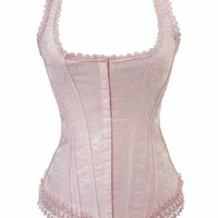 BJ1230 Corsets Women's Pink Jacquard Embroidered Overbust Boned Fashion Lace Corset 2XL Pink
