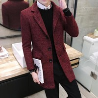 2016 winter self-cultivation in the long Trench men , coat wild it windbreaker, Christmas men gifts, solid color Wool coat male