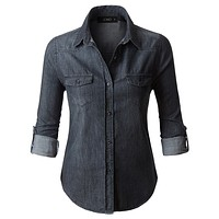 Vintage Black Distressed Long Sleeve Button Down Denim Shirt Top (CLEARANCE)