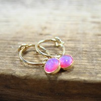 Tiny Hoop Earrings Dangle Gold MMS09 Opal