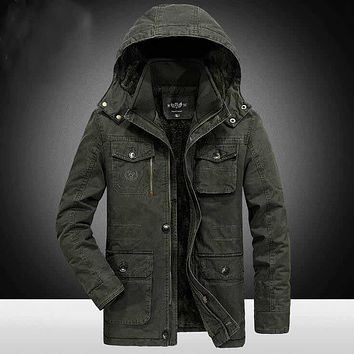AFS JEEP 6xl/7xl/8xl Plus Size Hooded Winter Parkas Solid Miliar Cotton Coat 2017 winter Male Field Working Warm Motorcycle coat