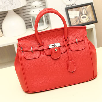 Women's Red Leather Tote Handbag
