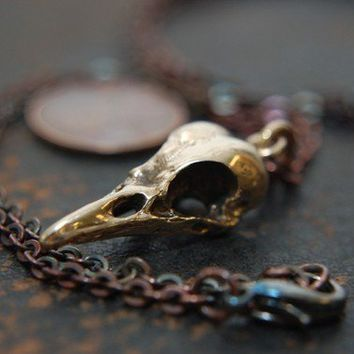 3D Bronze Crow Skull Pendant Necklace   Bird  Moon Raven by mrd74