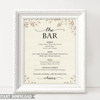 Bar sign, Bar Menu Sign, Printable bar sign, Wedding Bar Sign, Custom signs, Drinks sign, Templates Download, Script Sign, Gold Texture