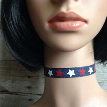 Denim Ribbon Choker Necklace with Silver Star Charm, July 4th Jewelry, Retro Nineties Necklace, 90s Choker, USA Necklace, Red White and Blue