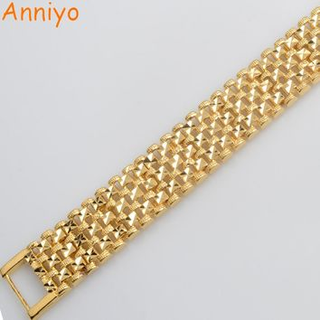 Anniyo Length 20CM Width 1.6CM Dubai Bracelet Women/Men Gold Color Ethiopian Jewelry New African Link Bangle Arab Gift