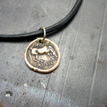 Ancient Horse Necklace - Greek Coin Jewelry - Bronze - Mens Leather Necklace - Artisan made Pendant- Unisex