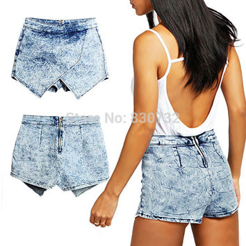 1892 2017 Women's Europe And America Brand Fashion Ladies New Denim Skorts Shorts Skirts Acid Wash Jeans Denim Faded Hot Shorts