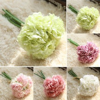 New 5 Heads Artificial Peony Flower Bunches Wedding Bridal Bouquet Silk Flowers Home Party Floral Decoration