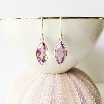 Pink Amethyst Earrings, Bezel Set Marquise Faceted Stone, Pink Lavender Minimal Earrings, Semi Precious Gemstone Dangle Drops, Gift for Her