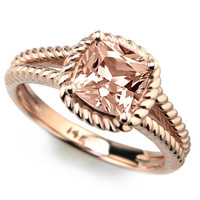 Cushion Peach Pink Morganite Twisted Rope Engagement Ring 14k Rose Gold