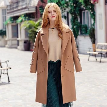 Autumn Winter High-end Camel Single-Breasted Woolen Coat Fashion Women's Clothing Turn-dowm Collar Overcoat Wool Jacket