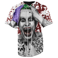 Suicide Squad White Button Up Baseball Jersey