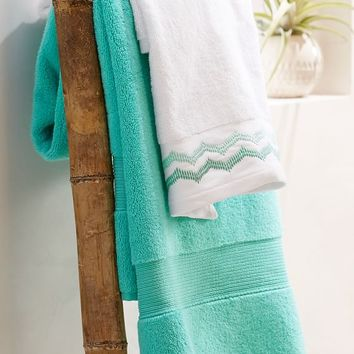 Embroidered Border Bath Towels