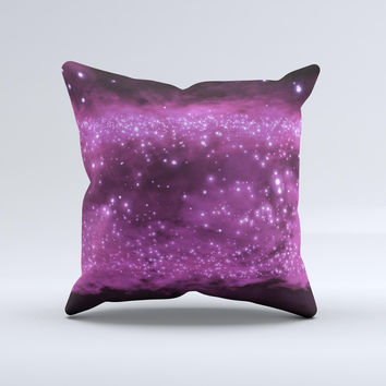 Glowing Hot Pink V2 Orbs of Light  Ink-Fuzed Decorative Throw Pillow