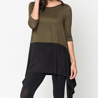 Caralase Olive & Black Two-Tone Tunic | zulily