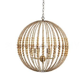 Buy Metal +wood beads globe design by Aidan Gray Online at Burkedecor – BURKE DECOR