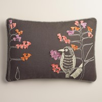 Bird and Stripes Cotton Lumbar Pillow