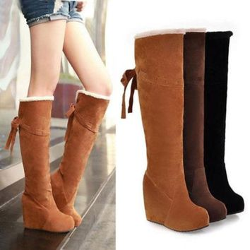 DCCKIX3 Winter Fur Lining Tall Womens Boots Fashion Knee High Platform Wedge Boots = 1932855940