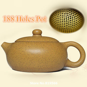 Hot real handmade yixing teapot 240ml Chinese 188 Holes Zisha pot purple clay kungfu tea set service