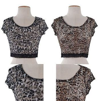 Sexy Lace Leopard Cheetah Cropped Cap Sleeve Shirt Top