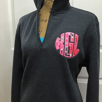 SALE!!! 1/4 Zip Personalized Applique Monogram (Vera Bradley Fabric)