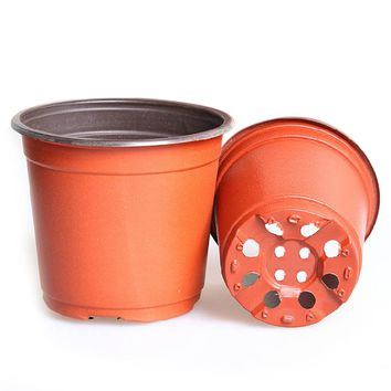 Behokic 100Pcs large 150*110*132mm Plastic Round Bi-color Flower Pot Planter Holder for Home Garden Planting Cutting Seedling