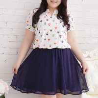 Korea Sweet Colorfur Hot Air Balloon Print Chiffon Dress